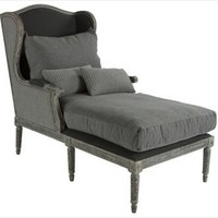 Aidan Gray - Havana Lounger Chair in Grey Stripe - CH88