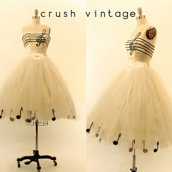 50s Tulle Dress XXS / 1950s Sequin Music Dress /  The Arpeggio Dress