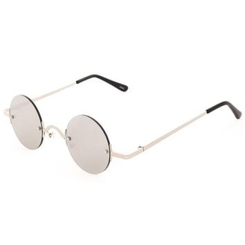 Leon Small Round Mirrored Sunglasses