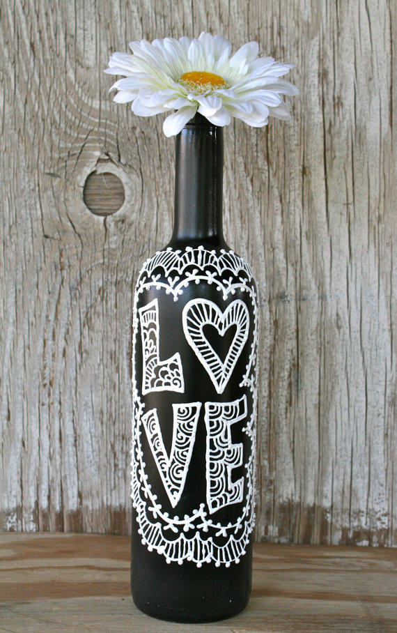 Painted wine bottle love black and from lucentjane on etsy for Painted wine bottle wedding centerpieces