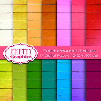 DIGITAL PAPERS  - Colorful Wooden Textures - Commercial Use  -  12x12 JPG Files  -Printable Papers-  Scrapbook Papers - High Quality 300 dpi