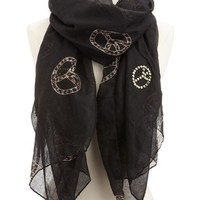 Studded Leopard Peace Sign Scarf: Charlotte Russe