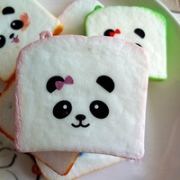 1PCS Hot Sale New Squishy Bear Printed Bread Kawaii Sliced Squishy Bread Soft Toast Toys Kitchen Toys