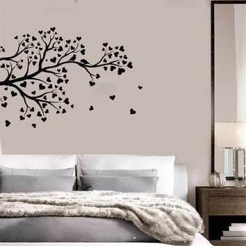 Vinyl Wall Decal Tree Branch Hearts Leaves Love Romantic Stickers Unique Gift (ig4565)