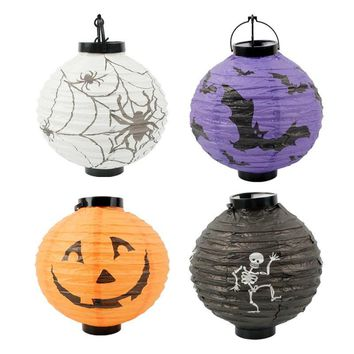 Cevent Pumpkin/Cobweb/Bat/Skull Print Lantern For Halloween Party Decoration Paper Hanging Lantern Ball DIY Craft Scene Props