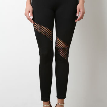 High Waisted Open Fishnet Leggings