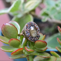 Citrine Ring - Size 10 Gemstone Ring - Crushed Pyrite Jewelry - Faceted Citrine Jewelry - Gypsy Boho Chic - Boho Jewelry - Pyrite Ring