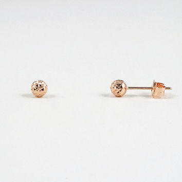 Faceted Rose Gold Dot Stud Earrings – LITTIONARY