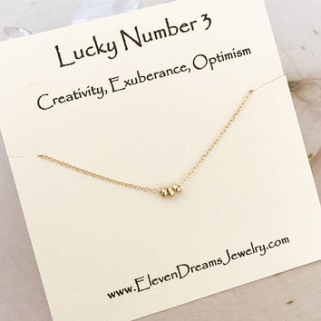 Lucky Number Three 3 Carded Spiritual Necklace. Creativity, Exuberance, Optimism. Gold or Silver. gift