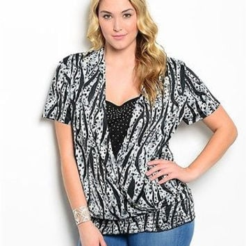 Women Fashion Plus Size Animal Print Peasant Top Blouse Shirt Relaxed Fit Black and White