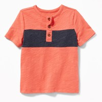 Color-Block Slub-Knit Henley for Toddler Boys|old-navy