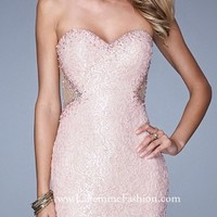 Beaded Lace Illusion Jeweled Prom Dresses By La Femme