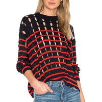 T by Alexander Wang Cut Out Sweater in Lipstick & Midnight | REVOLVE