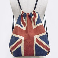 PATRIOTIC UK FLAG PRINT DRAWSTRING BAG