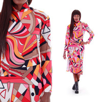 70's Pucci Inspired Midi Dress Long Sleeved Mod Psychedelic Op Art Print Dress 1970's Vintage Clothing Womens Size Small Medium