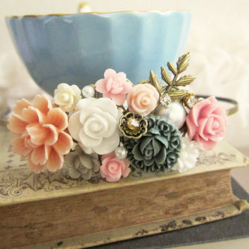 Peach Pink Gray Wedding Hair Accessories Bridal Fascinator Headband Floral Hairband Soft Pastel Coral Blush Flower Bridesmaids Head Piece