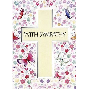 Floral Cross Sympathy Card