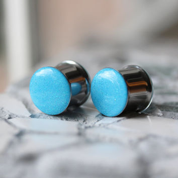 """Blue Glitter Gauges, Sparkly Ear Plugs, Resin Tunnels - sizes 4g, 2g, 0g, 00g, 7/16, 1/2, 9/16, 5/8, 3/4, 7/8, 1"""""""