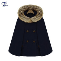 Fashionable Brand Novelty Female High Street Spring Royal Hot Sale Korean Style Hooded Double Breasted Pockets Cape Coat