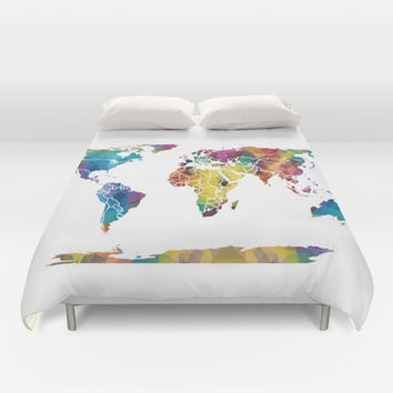 Geometric World Map Duvet Cover by Catherine Holcombe | Society6