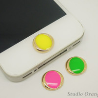 Fluorescent Bright Candy Summer Color Circle Apple iPhone Home Button Sticker, Cell Phone Charm for iPhone 5,4,4g,4s, iPad-1PC
