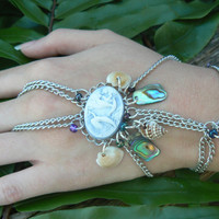 mermaid slave bracelet seashells cameo boho gypsy cruise wear beach wear  resort wear  high fashion gypsy boho