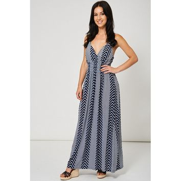Navy Blue and White Chevron Maxi Dress