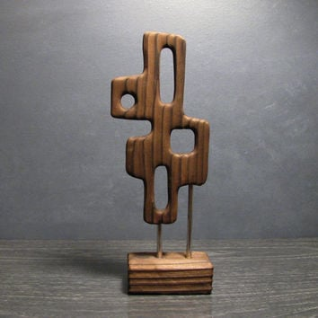Mid Century Modern Abstract Wood Table Art Sculpture - Burnt wood inspired by Witco Tiki Decor