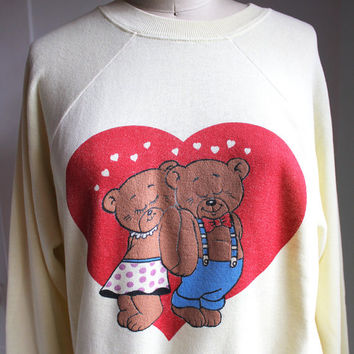 Teddy Bears in Love Butter Yellow Vintage Sweatshirt