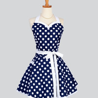 Sweetheart Retro Apron - Sexy Womens Apron Navy Blue and White Nautical Polka Dot Cute Full Kitchen Apron