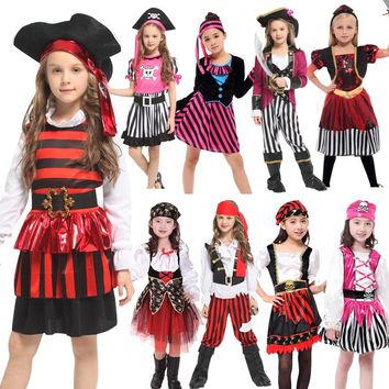 Free shipping Halloween Caribbean Pirate Captain Jack Sparrow Tricorn Cosplay Costume for children Girl Party cap dress up