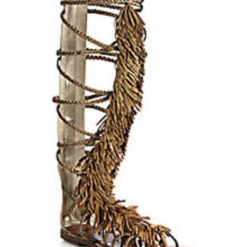 Sam Edelman - Gia Knee-High Fringed Metallic Leather Sandals - Saks Fifth Avenue Mobile