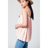 Pink top with crochet detailing