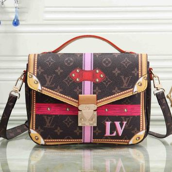 Louis Vuitton Women Fashion Leather Handbag Bag Cosmetic Bag Lock Print B-OM-NBPF Coffee