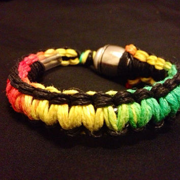 Pipe Bracelet - Black and Rasta (No Beads)