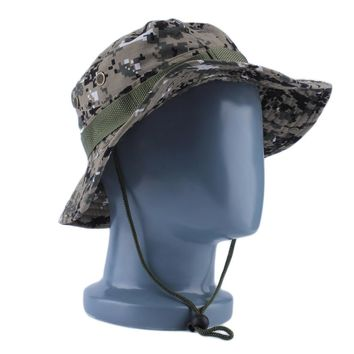 Military Army Jungle Camo Boonie Bucket Cap Hat Fishing Sun Caps 2016 Fashion Drop Shipping Camouflage hats