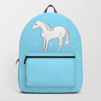 White Horse with Light Blue & Polka Dots Backpacks by Artist Abigail