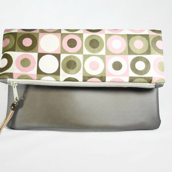Taupe Vegan Leather With Pink Taupe Brown Print Fabric/ Brown Vegan Leather Clutch/ Flap Over Zipper Fabric and Leather Clutch