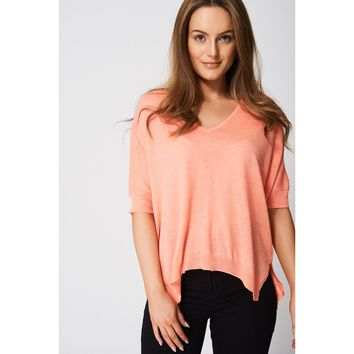 Coral Knitted Top