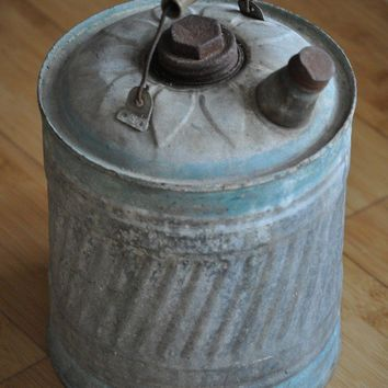 Vintage Gasoline Can /Old Galvanized Blue Gas by TheVelvetBranch
