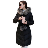 2016 Down Parka Winter Jacket Women Cotton Padded Thick Ultra Light Long Coat Faux Fur Collar Hooded Female Jackets For Woman