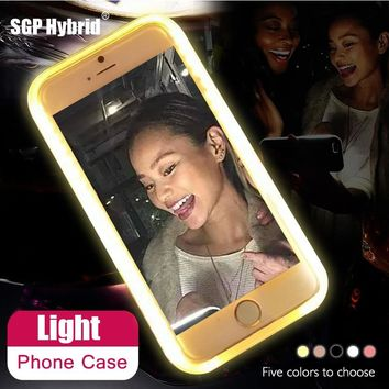 Case For iPhone 6 6S 7 Plus 5 s Flash Selfie Light Up Glowing Luxury Phone Case For Apple i Phone 5s 6s 7s plus iphoneX Cover