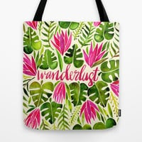 Tropical Wanderlust – Pink & Lime Tote Bag by Cat Coquillette