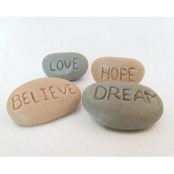 Tan and Gray Inspirational Stone Soaps - Believe, Love, Dream, Hope - Coconut Cabana Fragrance