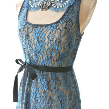 Lace top, gypsy cowgirl glam, high low shirt, romantic boho, altered clothing, chocolate brown, blue, rustic , True rebel clothing, Sm