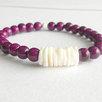 Purple and White Natural Riverstone Stacking Bracelet // Heishi Shell Bracelet