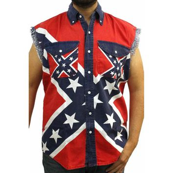 Confederate Rebel Flag Sleeveless Denim