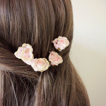 Pink and Gold Rose Fairytale Flower Hair Clip, Woodland. Spring, Summer Weddings, Bridal, Floral, Hair Accessories