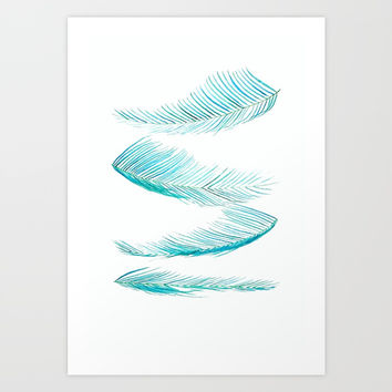 falling palm leaves watercolor Art Print by Color And Color
