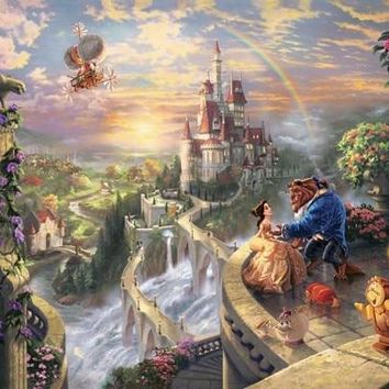 64-43-40.9-Needlework Craft Full Embroidery DIY French DMC Counted Cross Stitch Kit 14 ct Oil painting Beauty and the Beast